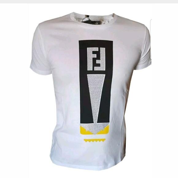 7074def546 FENDI Size XL men s MONSTER EYES t-shirt WHITE NEW